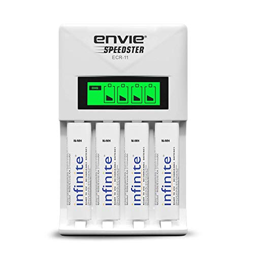 ENVIE® (ECR11+AA2100 RTU 4PL) Speedster Fast Charger for AA & AAA Rechargeable Batteries (with LCD Display)