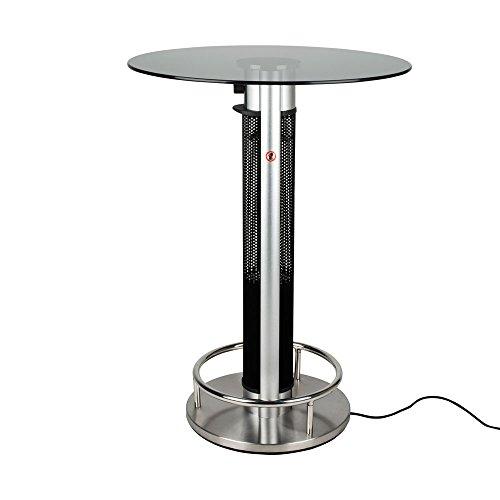 Stehtisch mit Infrarot-Heizstrahler - Tischplatte Glas - zweistufig regelbar - 800/1600 W - 80 cm Tischplatte und Edelstahl Fußreling - Terrassenstrahler mit Infrarotheizung, Stehtisch mit Infrarotheizung, inkl. Speditionsversand (bitte Telefon-Nr. in Bestellung angeben)