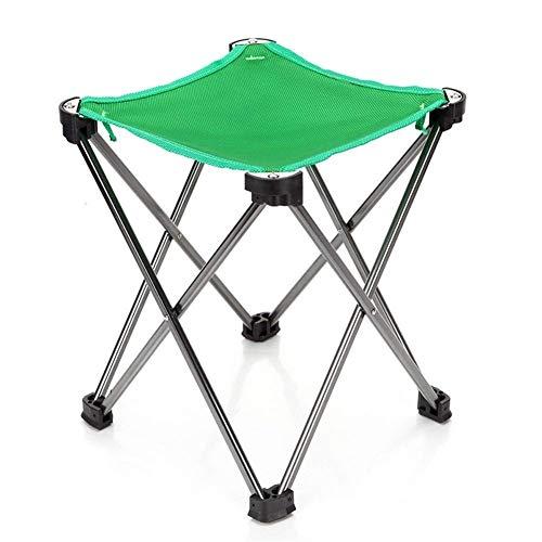 DAGUAI Taburete ligero portátil plegable al aire libre, aleación de aluminio, silla de camping para acampar barbacoas (color: verde)