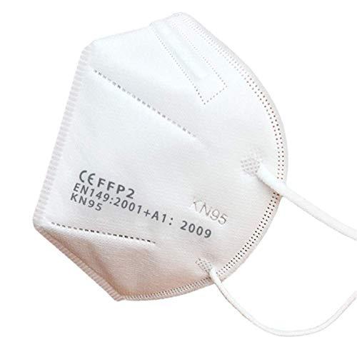 Mascherina KN95 / FFP2 Maschere Facciali Monouso con Passanti per le Orecchie, Filtrazione Multistrato al 96%, Confezione da 20 Pezzi CERTIFICATE CE + Fibbia