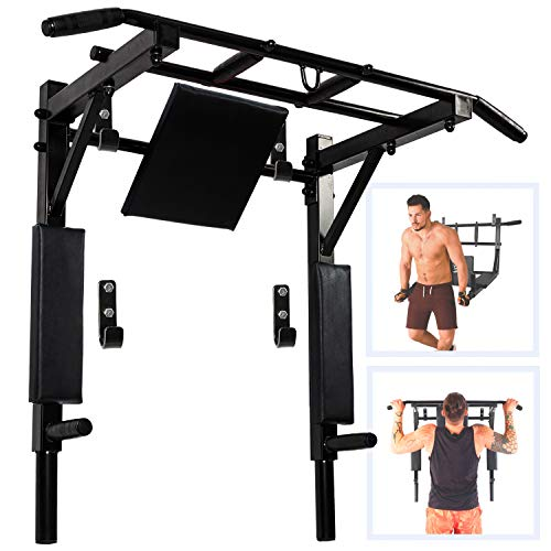 Kit4Fit Wall Mounted Pull Up Bar and Dip Station Multi Grip Chin Up Bar for Indoor Home Gym 550 Lbs Support (Total Black)