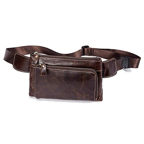 L-sister Bolsillos de Cuero para Hombre Retro Business Bag Top Layer Cuero Men's Bag Estilo único (Color : Brown, Size : 22 * 3 * 13 cm)