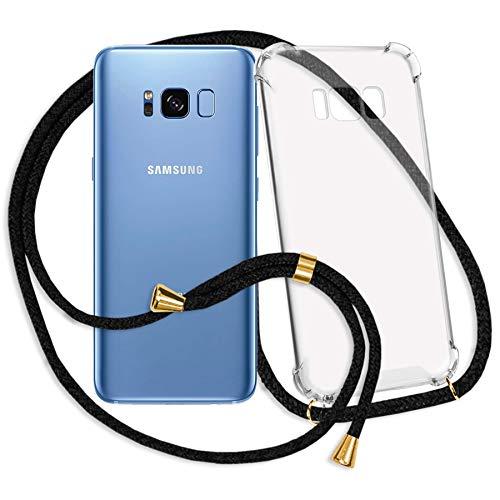 mtb more energy® Mobiele telefoon ketting voor Samsung Galaxy S8 (G950, 5.8'') - Zwart/Goud - Smartphone hoesje met koord - Nek Tas Cover met snoer band