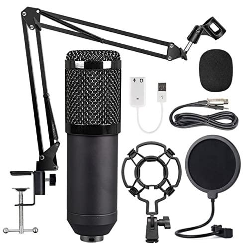 WGOEODI Conjunto de micrófono de Condensador, para Kit de micrófono de grabación, Negro