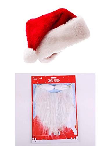 thematys® Weihnachtsmütze Santa Claus Nikolaus Weihnachtsfeier Mottoparty Weihnachtsmann Zipfelmütze Weihnachten X-Mas Merry Christmas Nikolaus Mütze + Bart Kostüm Zipfelmütze Karneval Fasching