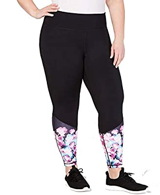 Ideology Womens Floral Ankle Athletic Leggings Black 3X