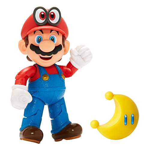 SUPER MARIO Nintendo Collectible Mario Wearing Cappy 4' Poseable Articulated Action Figure with Yellow Power Moon Accessory, Perfect for Kids & Collectors Alike! for Ages 3+ (401344)