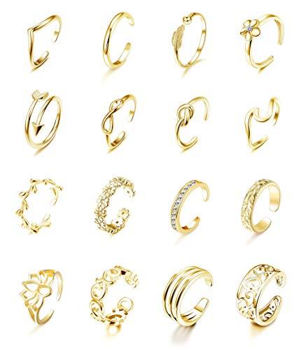 Milacolato 16Pcs Verstellbare Zehenringe für Frauen Verschiedene Arten Band Offener Zehenring Set Gold Silberfarben Hawaiianischer Fußgeschenkschmuck