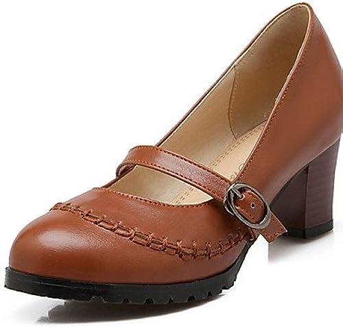 GGX  Chaussures Femme-Bureau & Travail   Décontracté-Noir   Marron   Beige-Gros Talon-Talons   Bout Arrondi-Chaussures à Talons-Polyuréthane