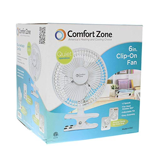 Comfort Zone CZ6C 6-inch Quiet Portable Indoor 2-Speed Desk Fan with Clip and Fully Adjustable Tilt, White