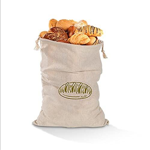 LPOQW Leinenbrot-Kordelzugbeutel Wiederverwendbare Kordelzugbeutel für Laib Hausgemachte Handwerker-Brot-Aufbewahrungstasche Leinenbrotbeutel für Baguette,Horizontal grün