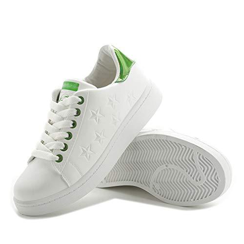 Zapatos de mujer, ligeros, informales, impermeables, con cordones, blancos, para equilibrio femenino, zapatos deportivos, universales, para todos los estudiantes, color verde, 40