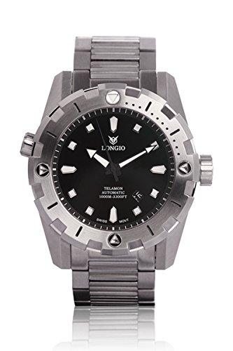 Diver orologi Longio Telamon 1000m Swiss Automatic Pro Diver 47mm zaffiro orologio subacqueo con valvola elio lunetta girevole in acciaio INOX Band con estensione fibbia 47mm diameter Black Dial