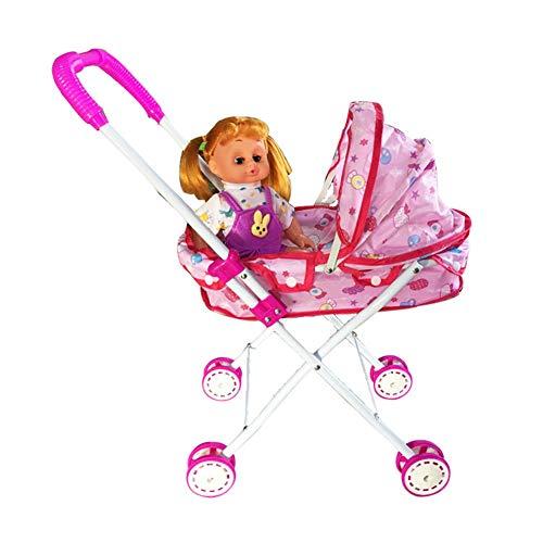 FXQIN Cochecito de muñecas Plegables para niñas y niños Coche De muñecas...