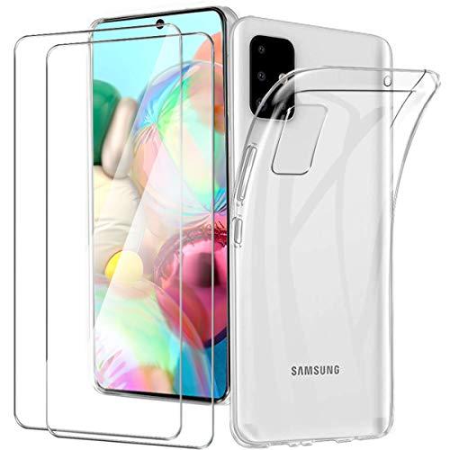 HTDELEC Cover Samsung Galaxy A71 + 2 Pezzi Pellicola Vetro Temperato, Crystal Clear Sottile Morbido TPU Trasparente Silicone Antiurto tettiva Custodia per Samsung Galaxy A71 (Trasparente)