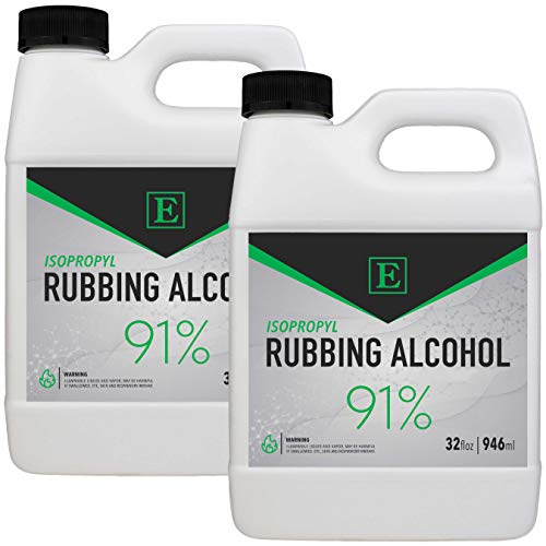 Emerson Labs 91% Isopropyl Alcohol (2-32oz Bottles) - 1/2 Gallon Pack of High-Purity IPA for Rubbing Alcohol & Concentrated All Purpose Cleaner - 64 ounce