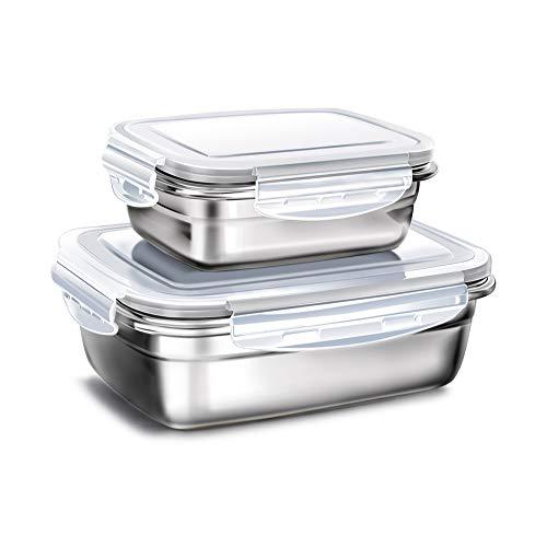 2er Set Bento Lunch Box Edelstahl, Lebensmittel Salat Container Brotdose für Kinder und Erwachsene, Klein(350ml) Groß(850ml), Grau
