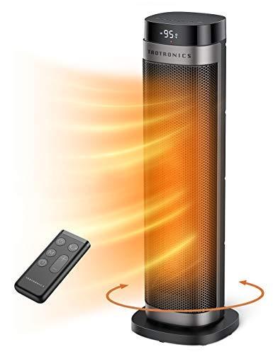 PTC Space Heater, Calentador de ventilador de torre de cerámica de calentamiento rápido de 1500 W, 24 pulgadas de alto oscilante, portátil y silencioso con…