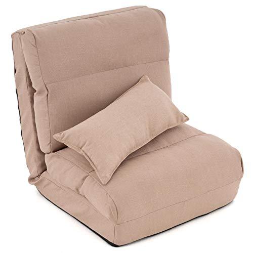 Nexos Schlafsessel Khaki 220x60x14 cm verstellbar Comfort Jugendsessel Gästebett klappbar Sitzsack Klappbett Sessel mit Kissen Bodensofa Lounger Einzelsofa Multifunktionsstuhl Faule Couch