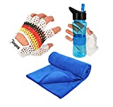 Pack Gym Guantes Gimnasio Hombre y Mujer para Crossfit, Levantamiento de Pesas, Antideslizantes, Agarre, Transpirables Fitness + Botella Deportiva Azul + Toalla Gimnasio Fitness (XL)