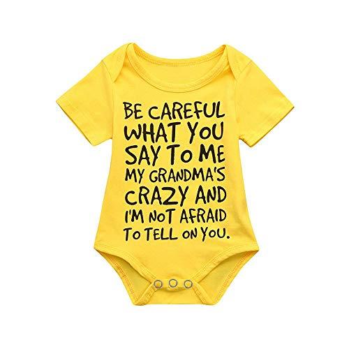 YEBIRAL Unisex Baby Strampler mit Spruch BE Careful What Baumwolle Kurzarm Body für Jungen und Mädchen
