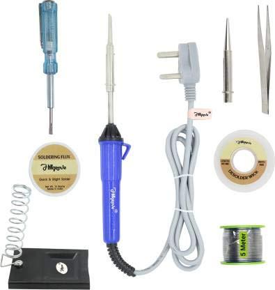 Walkers 8in1 25W Soldering Iron, Tweezer, Soldering Iron Stand, Soldering Paste, Soldering Wire, Desoldering Wick, Pointed Bit,Tester