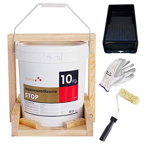 Revestimiento Elástico Impermeabilizante STOP · Pintura Impermeabilizante Terrazas y Azoteas · Producto NATURAL 100% base Agua, SIN OLOR a Disolventes Químicos · Rojo Teja · 10KG (8,3 L) · Promoción D