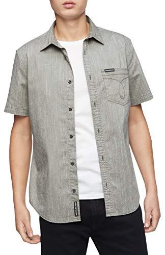 Calvin Klein camisa de manga corta Oxford con botones para hombre, Camisa Oxford de manga corta con botones, S, Bolsillo Omega granate