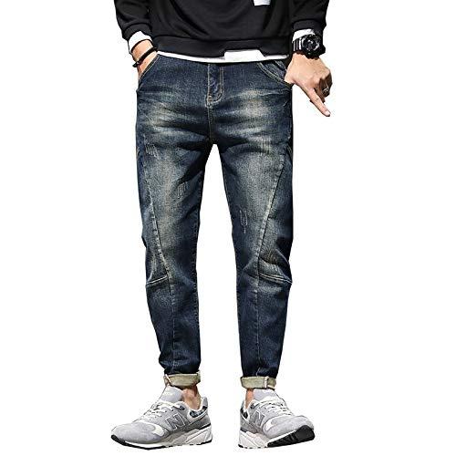 Jeans Pantalon Herren Jeans Haremshosen Mode Taschen Loose Fit Baggy Moto Jeans Herren Stretch Retro Streetwear Relaxed Tapered Jeans 40 Blau