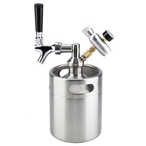 Mugast Tragbares Fass für Brauen von Bier,2 L 304 Edelstahl Selbstbrauer Craft Beer Dispenser System mit Wasserhahn, der für Craft Beer Draft und Homebrew unter Druck Gesetzt Wird