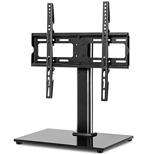TAVR Universal Swivel TV Stand Base Tabletop TV Stand for 27 32 42 43 47 50 55 inch LCD LED Flat Screen TV-Height Adjustable TV Mount Stand with Tempered Glass Base,Hold up to 88lbs,MAX VESA 400x400mm