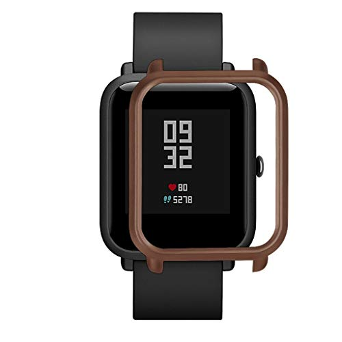 Schutzhülle für Huami Amazfit Bip Youth, PPangUDing Slim Colorful Frame PC Cases Cover Ersatz Schutzhülle mit Displayschutzfolie für Huami Amazfit Bip Youth Smart Watch Armbanduhr (Kaffee)