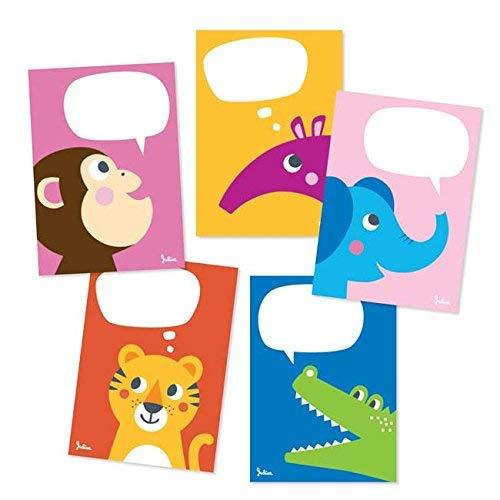 Julica Design Postkarten Set Zoo-Tiere | Kinder Postkartenset zum Selbst Beschriften | Tierpostkarten