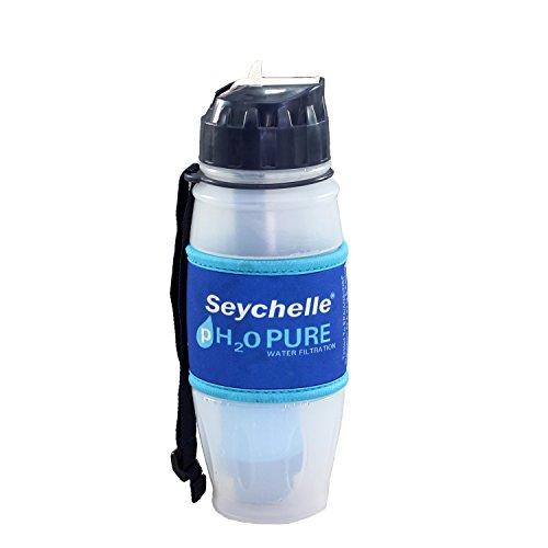 Seychelle Water Filtration 1-10603-28-HI-FC-Sey Flip Top Bottle with Advanced/Radiological Filtration, Polyethylene, 28 oz.