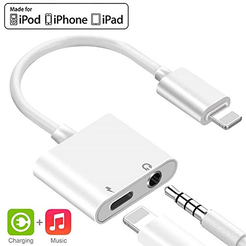 [Apple MFi Certified] Lightning to 3.5mm Headphone Adapter, 2 in 1 Lightning to 3.5mm Headphone Audio & Charger Splitter Compatible for iPhone 11/11 Pro/XR/XS/8, iPad, Support Calling & Music Control