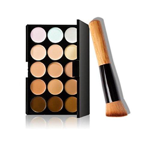 Vovotrade 2018 Newest Design 15 couleurs de maquillage Correcteur Contour Palette + pinceau de maquillage (Multicolore)