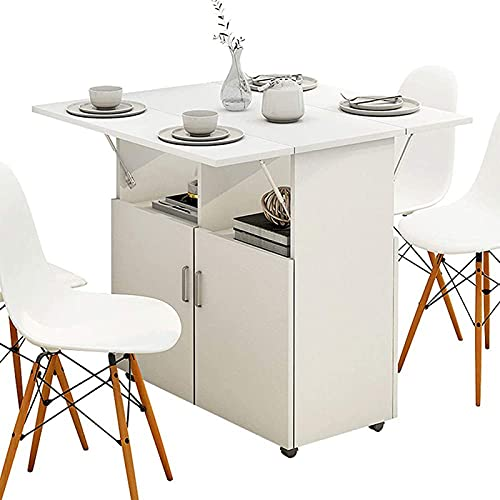 ERSHY Expandable Dining Table, Folding Dining Table, Versatile Dinner Table with 4 Wheels And Storage Racks, Space Saving Kitchen Table Dining Room Table