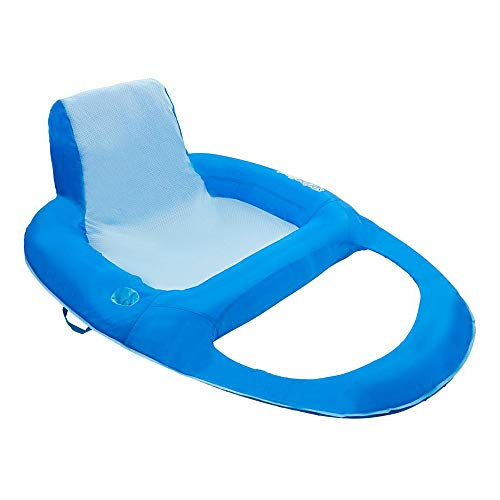SwimWays Spring Float Recliner XL Inflatable Pool Lounger with Hyper-Flate Valve