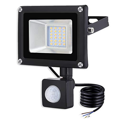20W Proiettore a LED Faretto LED con Sensore di Movimento 1600lm Proiettore LED Esterno Impermeabile IP65 3000K Bianco Caldo proiettore per cortile garage officina[Clase de eficiencia energética A+]