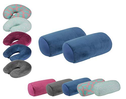 wometo 2 Stück Nackenrolle Plüsch Stretch 30x16 cm - Mikroperlen Kügelchen-Füllung Bezug blau dunkelblau Kissenrolle Relaxkissen Mikroperlen Knautschkissen Nackenkissen