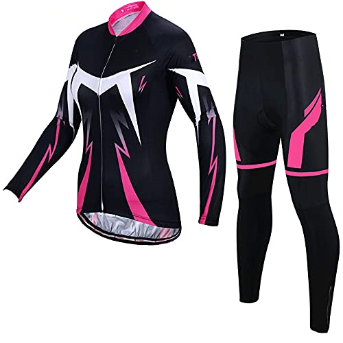 Set di Maglie Abbigliamento da Ciclismo da Donna, Jersey in Bicicletta Set da Donna,Manica Lunga Bike Lady Sports Jersey Suita in Bicicletta+Cuscino 3D Pantaloni Imbottiti