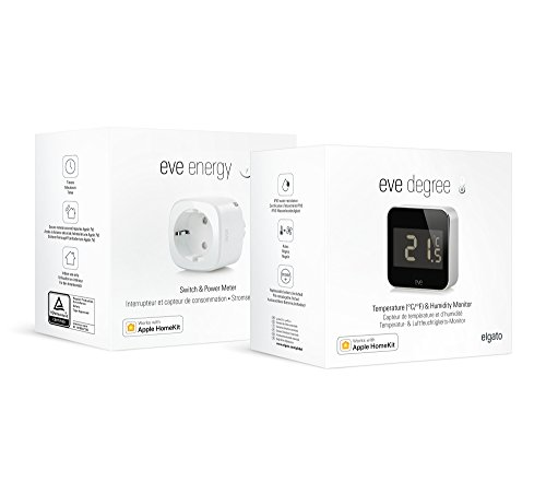 Eve Klima-Set - Eve Degree und Eve Energy, Wetterstation und smarte Steckdose, Bluetooth Low Energy, keine Bridge erforderlich (Apple HomeKit - Smart Home)