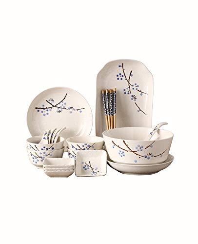 XY&CF 21 Piezas Conjunto Japonés Vajilla, Platos De Diseño Floral, Reactiva Esmalte Gres Vajillas, De Alta Clase De Vajilla, Resistente A Arañazos