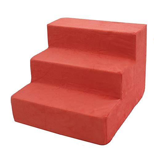 ZBM-ZBM huisdier 3 stap trap, kat/hond/Teddy, streep wasbaar/Sponge ladder hond trap/slaapkamer hoge bed hond stappen, ORANJE