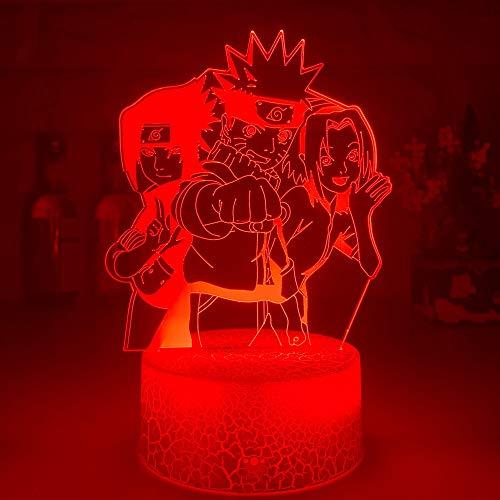 El más nuevo grupo de figuras de Anime Uzumaki 3D ilusión óptica luz nocturna lámpara de escritorio de 7 colores Hatake Kakashi Uchiha Sasuke lámpara chico