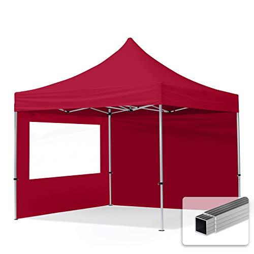 TOOLPORT Faltpavillon Faltzelt 3x3m - 2 Seitenteile 32mm ALU Pavillon Partyzelt PES300 100% WASSERDICHT rot