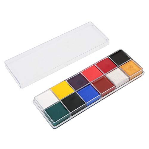 12 Colors Non- Oil Paint Halloween Face Body Painting Makeup Set, Ergonomic Handle, for Halloween Party Face Painting,(12 Colors Oil Paint, Santa Claus)