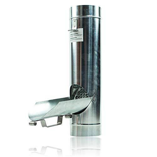 Zink Regenrohrklappe 100 mm mit Edelstahl Sieb für Fallrohr - Titanzink Fallrohrklappe als Regenwassersammler, einfache Montage dank konischer Form & passgenauem Übergang