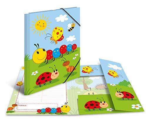 HERMA 19784 Sammelmappe DIN A4 Kindergarten Frieda & Friends aus stabilem Karton mit bedruckten Innenklappen, Gummizugmappe, Eckspanner-Mappe, 1 Zeichenmappe für Kinder