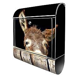 Banjado Design Briefkasten mit Motiv Esel | Stahl pulverbeschichtet mit Zeitungsrolle | Größe 39x47x14cm, 2 Schlüssel, A4 Einwurf, inkl. Montagematerial